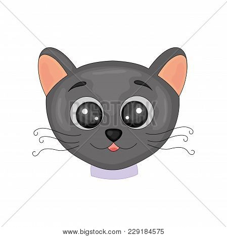 Cute Cartoon Black Cat Isolated Image On White Background. Postcard With Home Kitten With Black Legs