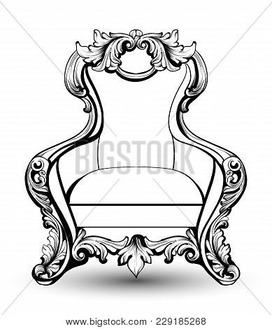 Baroque Armchair With Luxurious Ornaments. Vector French Luxury Rich Intricate Structure. Victorian