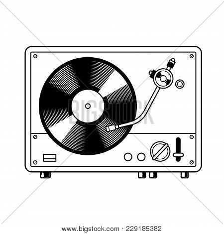 Record Player Turntable Device With Vinyl Record Coloring Vector Illustration. Comic Book Style Imit