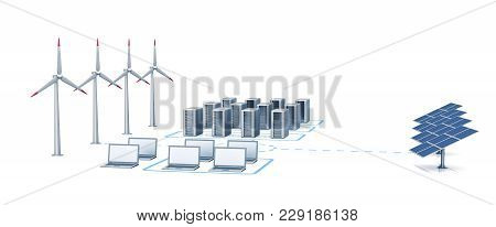Windmill And Solar Energy. Horizontal 3d Rendering