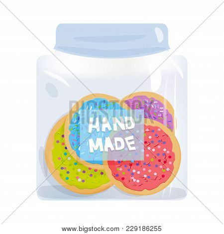 Frosted Sugar Cookies, Italian Freshly Baked Biscuit In Jar With Pink Violet Blue Green Frosting And