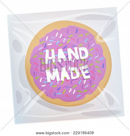Hand Made Frosted Sugar Italian Freshly Baked Cookie In Transparent Plastic Package With Violet Fros