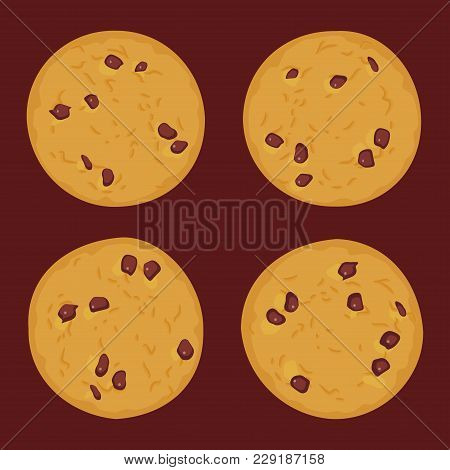 Chocolate Chip Cookie Set, Freshly Baked Four Cookies On Dark Brown Background. Bright Colors. Vecto