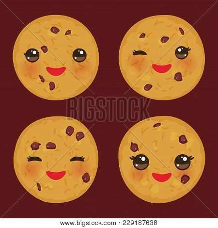 Kawaii Chocolate Chip Cookie Set Freshly Baked Isolated On Brown Background. Cute Face With Pink Che