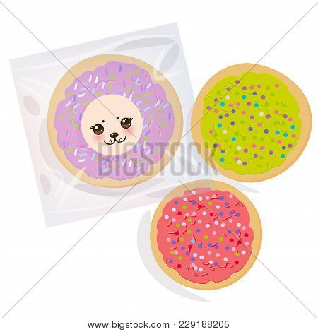 Frosted Sugar Cookies, Set Italian Freshly Baked Biscuit In Transparent Plastic Package With Pink Vi