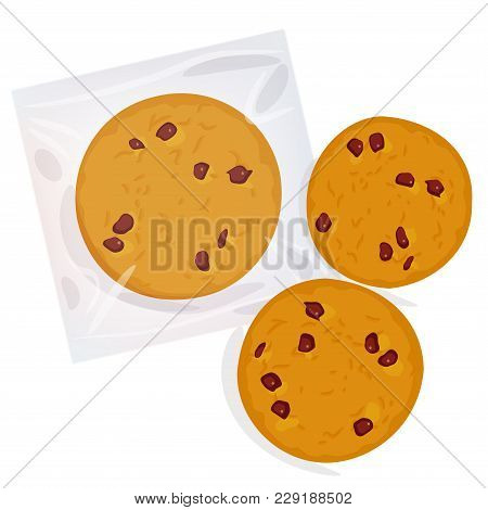 Chocolate Chip Cookie, Freshly Baked Four Cookies In Transparent Plastic Package Isolated On White B