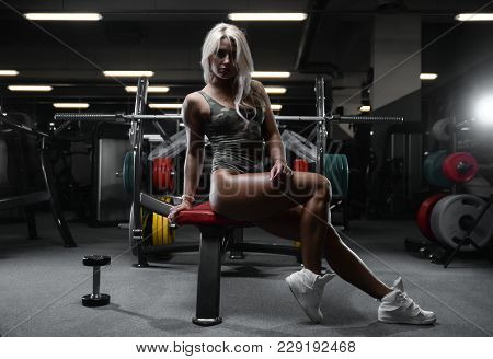 Active Beautiful Caucasian Athletic Fit Sexy Young Blonde Woman On Diet Posing Showing Well Rounded