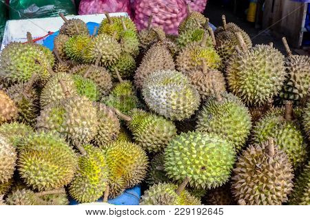 View Of Durians Often Called The King Of Fruits For Sale In Market.its Has Good Monounsaturated Fats