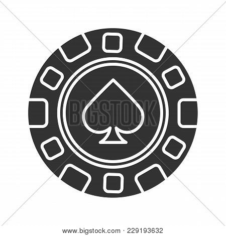 Casino Chip Glyph Icon. Gambling Token With Spade Sign. Casino Silhouette Symbol. Negative Space. Ve