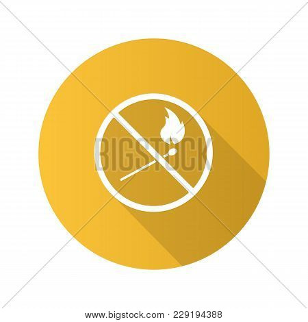 Forbidden Sign With Burning Matchstick Flat Design Long Shadow Glyph Icon. No Naked Lights Prohibiti