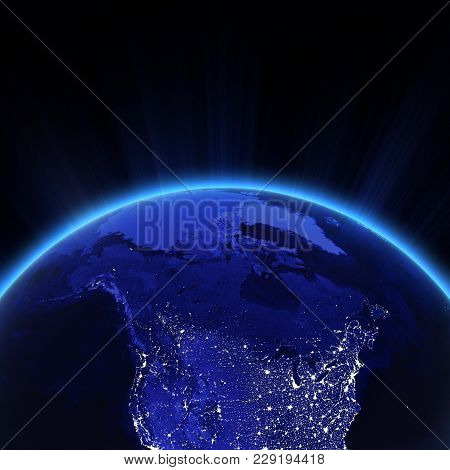 Canada And North Usa City Lights At Night. Elements Of This Image Furnished By Nasa 3d Rendering