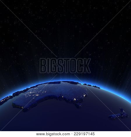 Australia And New Zeland City Lights At Night. Elements Of This Image Furnished By Nasa 3d Rendering