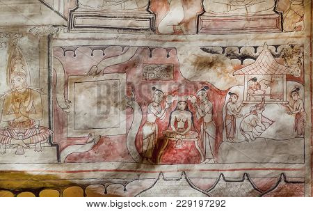 Dambulla, Sri Lanka - Jan 8, 2018: Life Of Ancient Women And Monks On Fresco Of Great Cave Temple Of