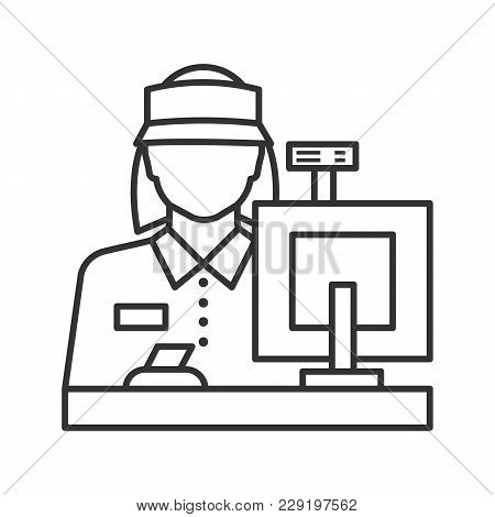 Cashier Linear Icon. Counter. Thin Line Illustration. Contour Symbol. Vector Isolated Outline Drawin