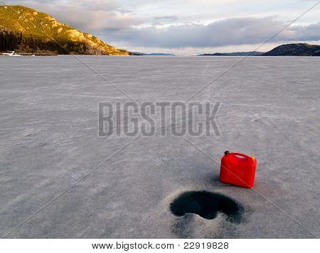 Red Jerrycan Lost on Frozen Lake Laberge, Yukon T