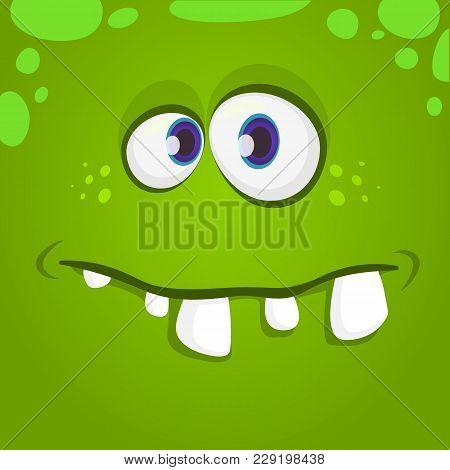 Funny Cartoon Monster Face. Vector Halloween Green Monster Character