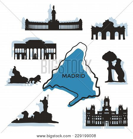 Madrid City Landmarks And Monuments Isolated On White Background. Banner Of The Famous Buildings Of