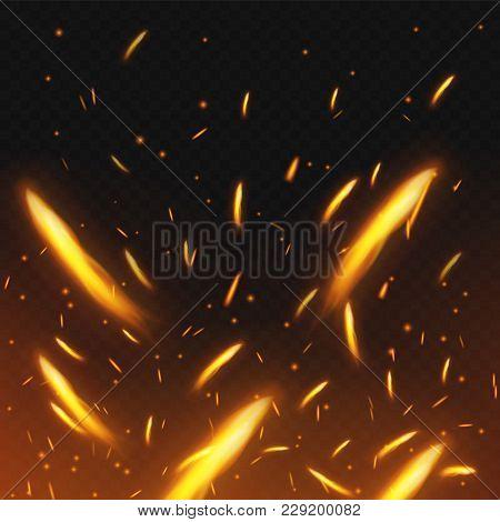 Fire Sparks Flying. Firestorm Texture. Sparks Charcoal. On Transparent Background. Vector Illustrati