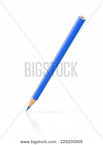 Blue Pencil. Art Tool For Sketch. Isolated White Background. Eps10 Vector Illustration.
