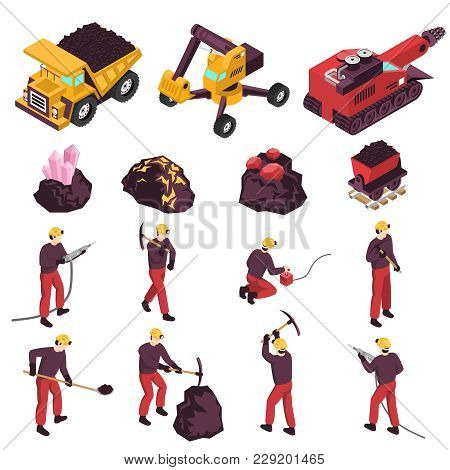 Mining Workers Products And Equipment Isometric Icons Collection With Excavator Boring And Transport