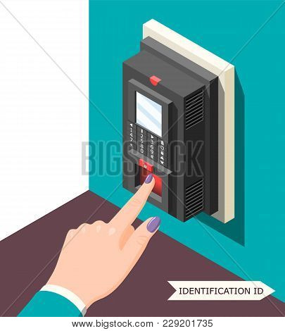 Biometric Id Background With Electronic Access Control Device And Female Hand With Finger On Sensor