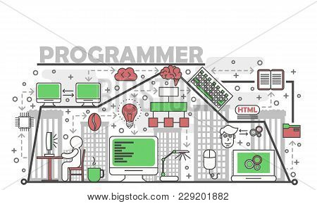 Programmer Concept Vector Illustration. Modern Thin Line Art Flat Style Design Element With Program