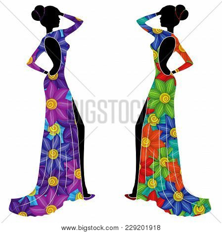 Beautiful Graceful Ladyes In Long Gowns With Big Colorful Flowers Isolated On The White Background,