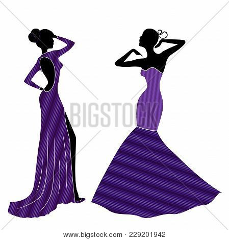 Attractive Graceful Ladyes In Long Trendy Violet Gowns Isolated On The White Background, Vector Illu