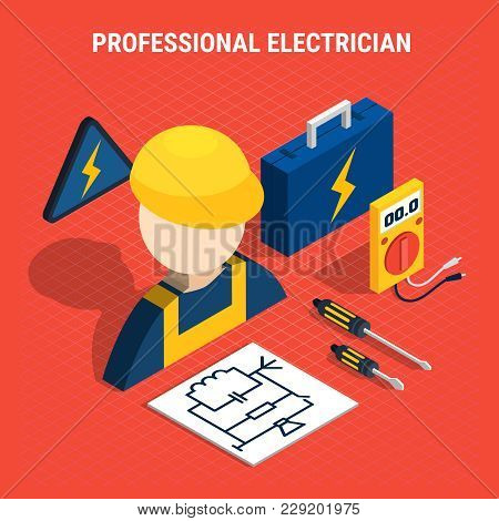 Red Electricity Isometric Composition With Professional Electrician Headline And Isolated Elements O