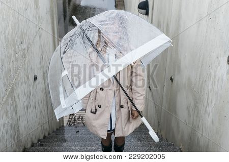Little Girl With Blue Eyes  And Big Clear Umbrella.