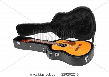 Musical Instrument - Classic Guitar Hard Case Isolated On A White Background.