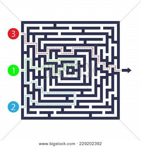Labyrinth Game. Three Entrance, One Exit And One Right Way To Go. But Many Paths To Deadlock. Vector