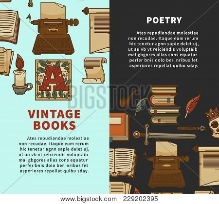 Books Posters For Bookshop Or Bookstore. Vector Design Of Vintage Novels Or Fiction Books And Poetry