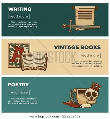 Vintage Books And Poetry Web Banners For Bookshop Or Bookstore And Literature Library. Vector Design