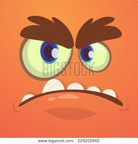 Cool Angry Cartoon Monster Face. Vector Halloween Red Monster Avatar