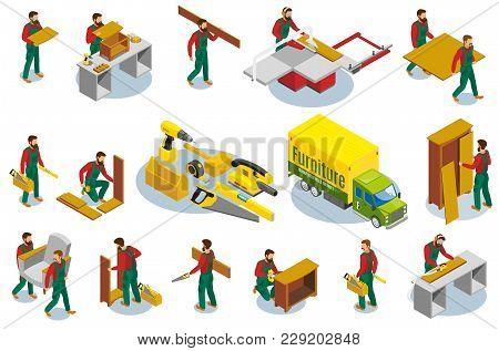 Set Of Isometric Icons Furniture Makers With Professional Tools During Production And Assembly Isola