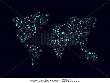 World Map With Circles And Lines. Abstract Polygonal World Map With Points. Global Network Mesh. Vec