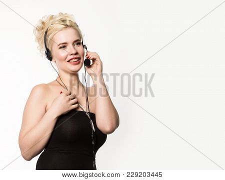 Sexy Smiling Woman Working In A Call Center. Headset Telemarketing Woman Talking On Helpline. Custom