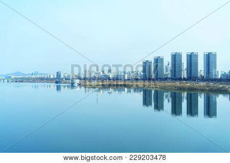 Cityscape Of Seoul And Han River Or Hangang In South Korea