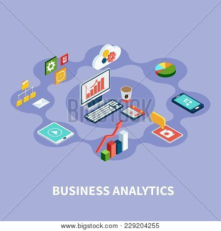 Data Isometric Round Composition With Financial Pictograms Gadgets Gear And Cloud Computing Icons An