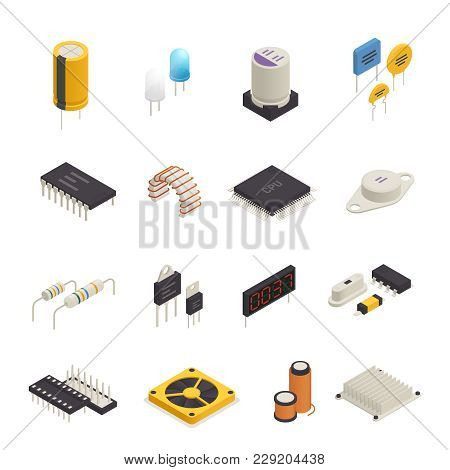 Semiconductor Device Electronic Components Isometric Icons Set With Signal Photo And Transient Volta