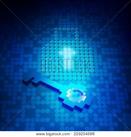 Concept Of Cyber Security, Graphic Of Digital Key Icon With Technology Background