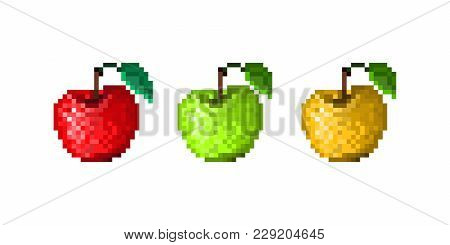 Set Of Pixel Art Icons. Red, Green, Yellow Apples With Leaf. Old School 8 Bit Illustration Isolated