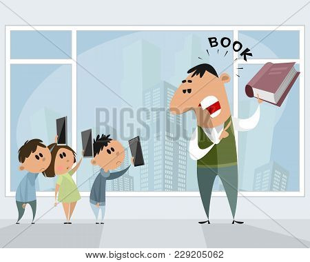 Vector Illustration Of Technologies Vs. Traditional Book