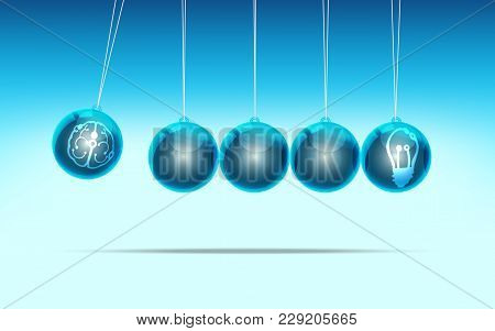 Metaphor Of Creative Thinking, Graphic Of Pendulum With Brain And Light Bulb Label