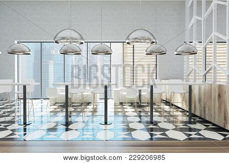 Office Dining Room Area With White Walls, A Tiled Black And White Floor, White Tables, Stools And Ch