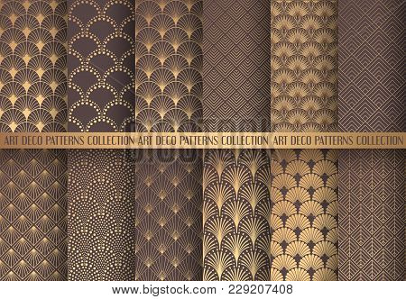 Art Deco Patterns Set. Seamless Golden Backgrounds. Fan Scales Ornaments. Geometric Decorative Digit