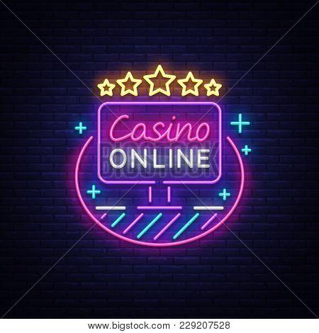 Online Casino Neon Sign Vector. Logo In Neon Style, Gambling Symbol, Light Banner, Bright Neon Night