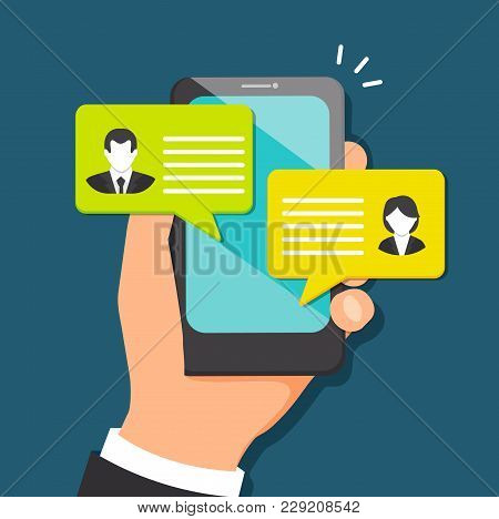 Concept Of Talking Through The Messenger In Mobile Devices. Chatting And Corresponding With Friens.