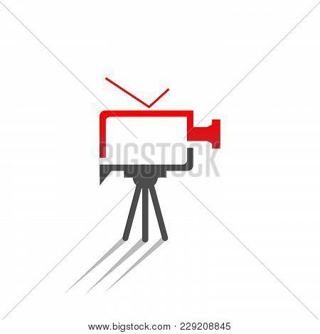 Video Camera Vector Logo Illustration. Combination Between Video Camera And Tv Vector Design